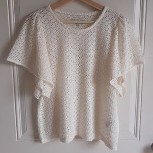 Madewell Eyelet Flutter Sleeve Top Size Large